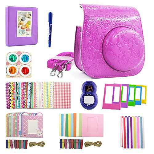 Shaveh 11 in 1 Camera Accessories for Fujifilm Instax Mini 7/8 or Mini 9 Include Camera Case/Album/Selfie Lens/Colored Filters/Wall Hang Frames/Film Frames/Border Stickers/Corner Stickers/Pen (Frame Violet Lenses)