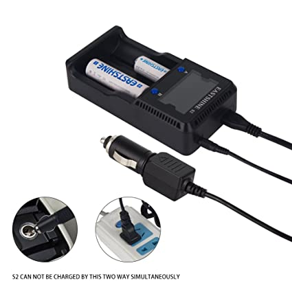 Universal Battery Charger, EASTSHINE S2 LCD Display Speedy Smart Charger for Rechargeable Batteries