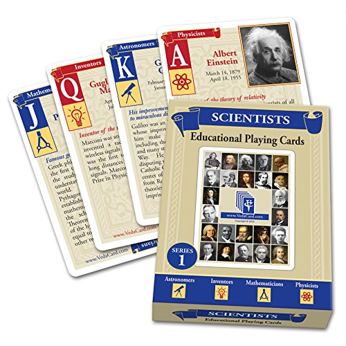 Educational Playing Card - VedaCard Scientists Series 1 Educational Playing Cards - Deck for Home, School or Game Night - Have Fun Learning History