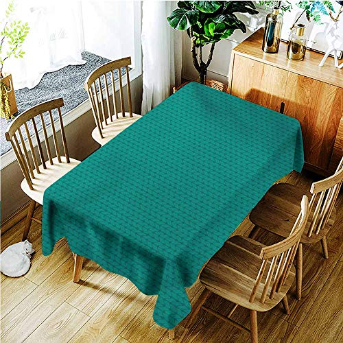 (Anti-Fading Tablecloths,Teal Knitting Inspired Pattern Sewing and Crafting Hobby Themed Design Monochrome Image Print,Dinner Picnic Table Cloth Home Decoration,W54x72L,Teal)