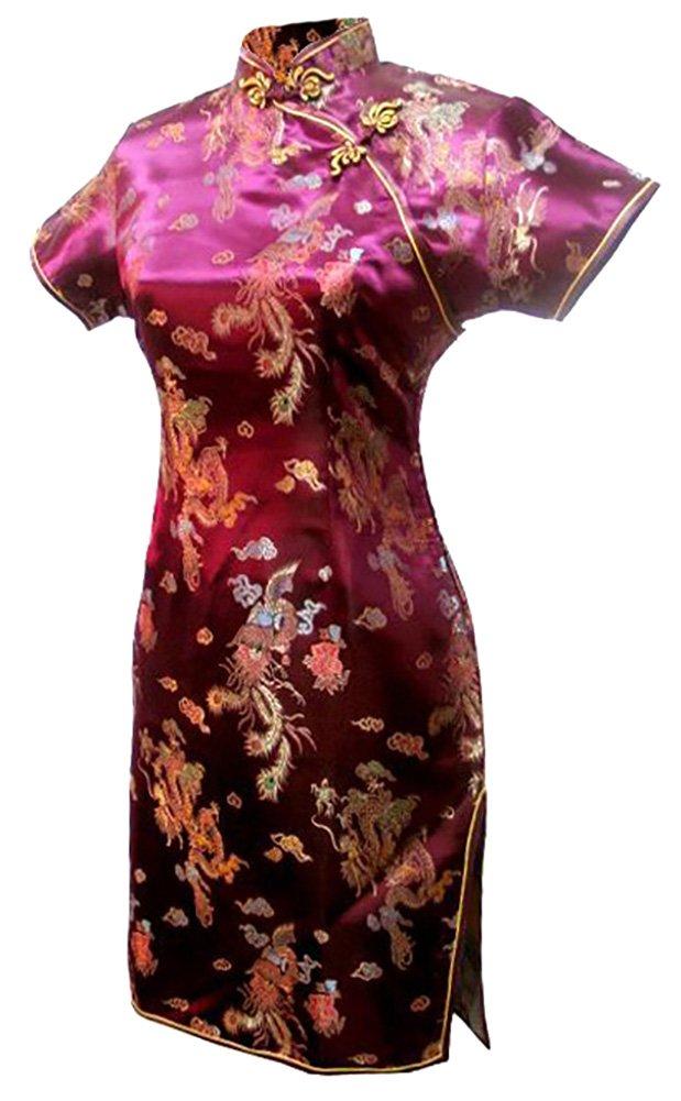 7Fairy Women's Vtg Burgundy Dragon Mini Chinese Party Dress Cheongsam Size 18 US