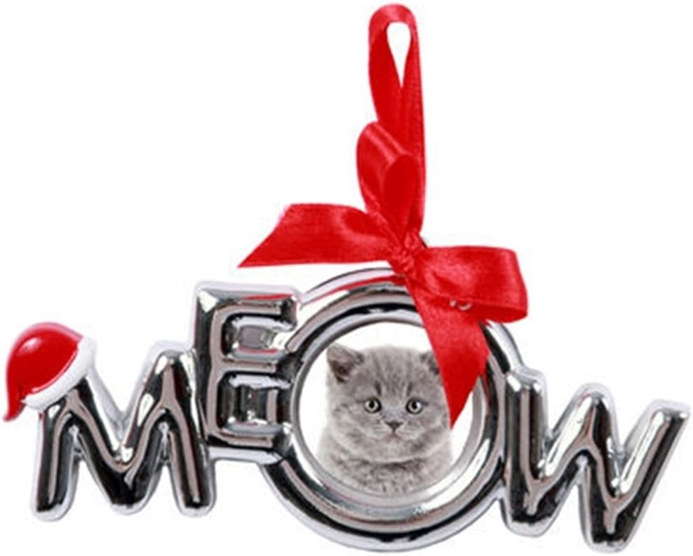 DEI Picture Frame Christmas Ornament with Santa Hat and Red Ribbon Bow (Meow)