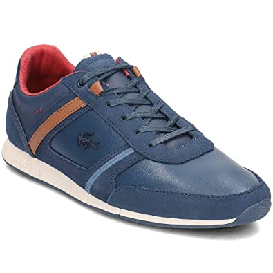 b78dce871 Lacoste Menerva 318 1 CAM Leather Trainers in Navy Blue   Brown 736CAM0052  2Q8  UK
