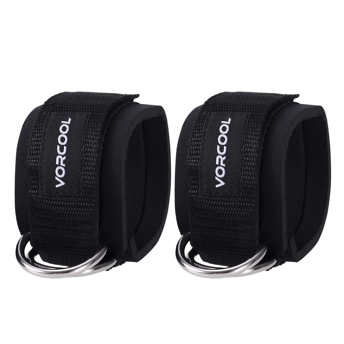 VORCOOL Sport tobillo correas acolchado anillo en D puños del tobillo para ejercicios de gimnasio máquinas de cable ejercicios de pierna con bolsa de transporte 2pcs