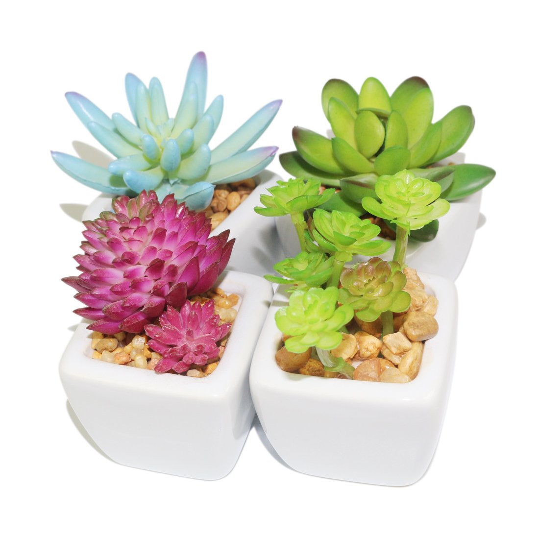 Myartte Home Decor-Set of 4 small Cube-Shaped Ceramic Pot with 4 different Artificial Succulent Plant for Home decoration Office decoration ASP-07060118