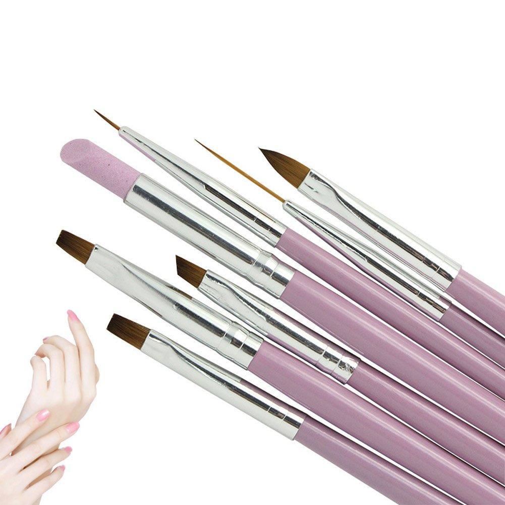 Cutogain 7pcs Brosse à ongles de gel UV Gradient Liner Stylo peinture acrylique repousse cuticule Manucure Tool Kit