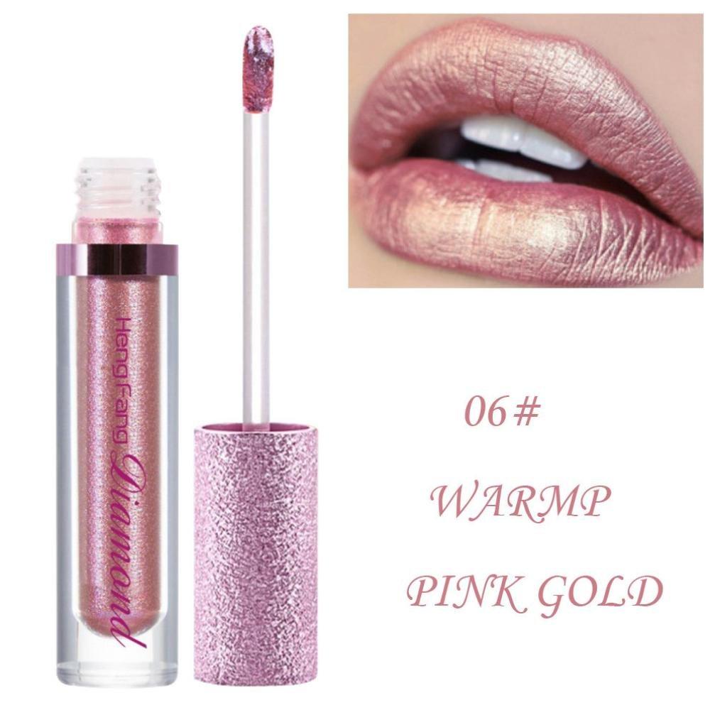Women Waterproof Lipstick HP95 Liquid Shimmer Lip Gloss Metallic Lipstick Long Lasting Lipstick Glitter Lip Makeup 06#