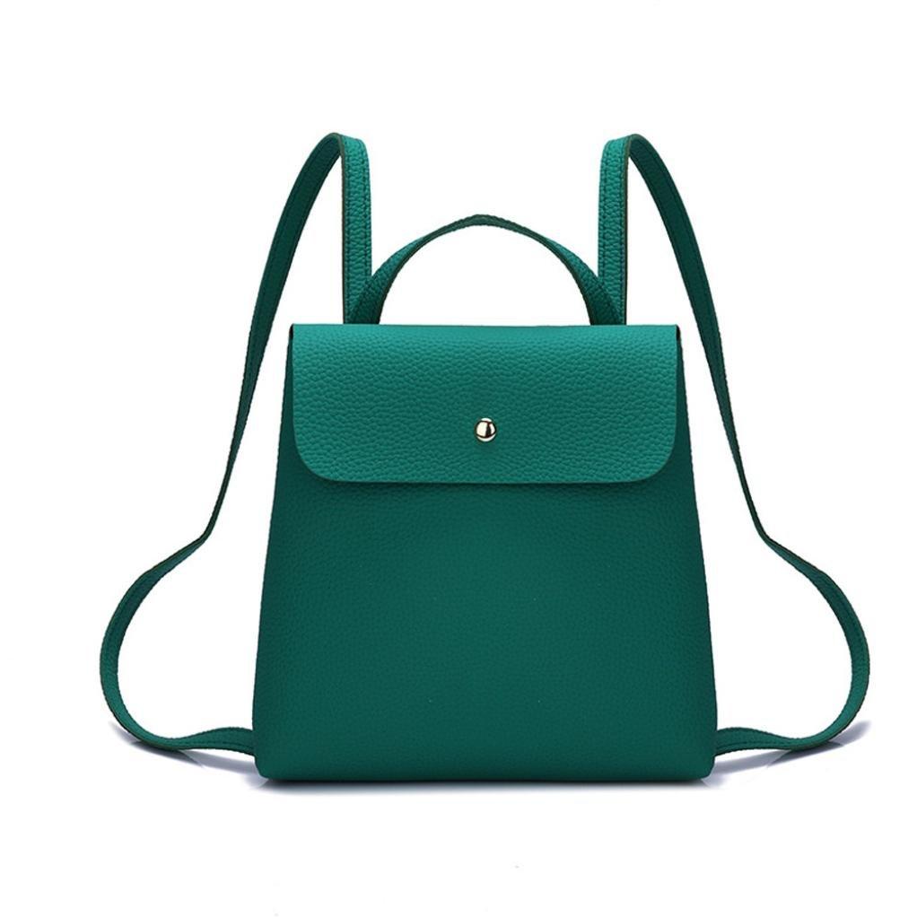 Rakkiss Girl Backpack Shoulder Bag Fshion Women Pure Color Leather Mini School Bag Girl Rucksack Shoulder Bookbags (One_Size, Green)