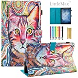 Fire HD 10 Case,LittleMax PU Synthetic Leather Case Flip Cover with Auto Wake / Sleep for Amazon Kindle Fire HD 10.1'' 2017 Release with One Free Stylus-# Lovely Cat