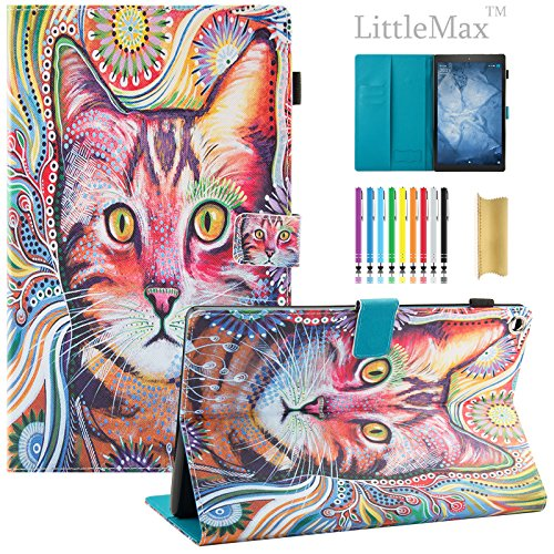 Fire HD 10 Case,LittleMax PU Synthetic Leather Case Flip Cover with Auto Wake / Sleep for Amazon Kindle Fire HD 10.1'' 2017 Release with One Free Stylus-# Lovely Cat by LittleMax