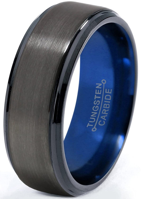 Tungsten Wedding Band Ring 8mm For Men Women Blue Black Gunmetal Beveled Edge Brushed Polished: Wedding Band Gunmetal Blue At Websimilar.org