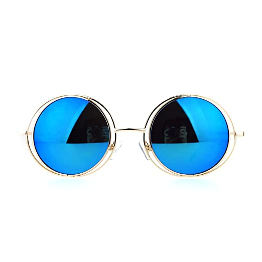 c0e0ba90035 Amazon.com  SA106 Mirrored Double Round Metal Rim Circle Lens Hippie ...