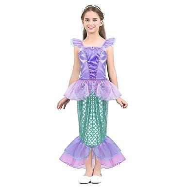 Alvivi Vestido de Sirena Niña Brillantes Traje Princesa con ...