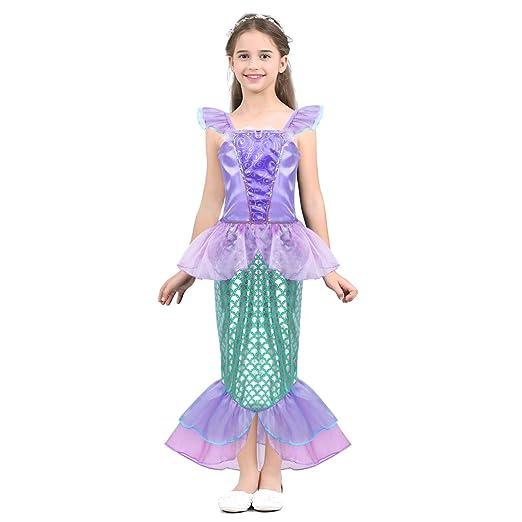 Alvivi Vestido de Sirena Niña Brillantes Traje Princesa con Cola ...