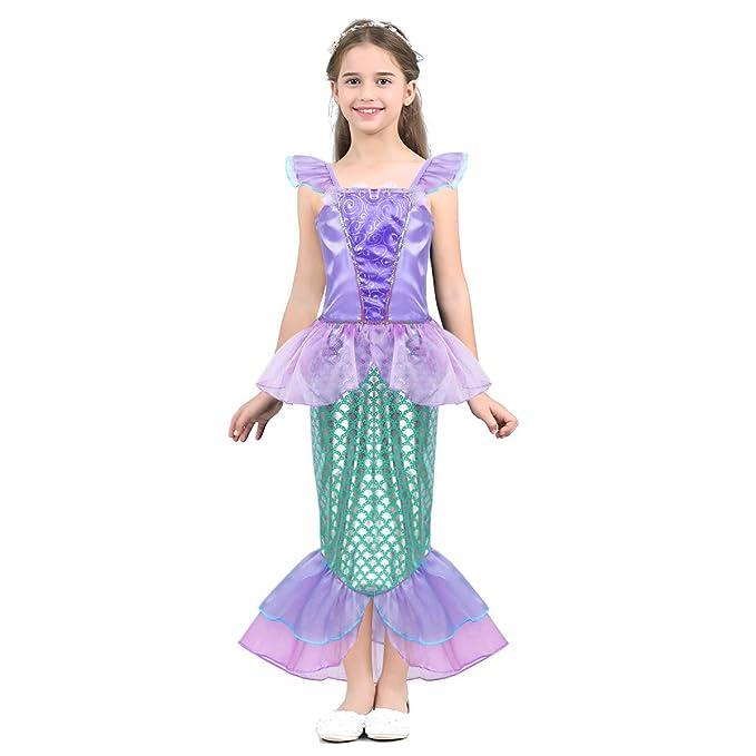 8679d75cf Alvivi Vestido de Sirena Niña Brillantes Traje Princesa con Cola sin ...