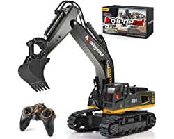 kolegend Remote Control Excavator Toy Truck, 1/18 Scale RC Excavator Construction Vehicles for Boys Girls Kids RC Tractor wit