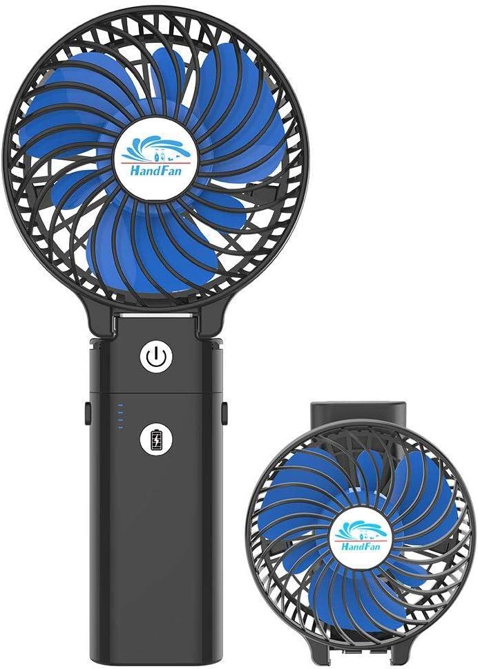 HandFan Ventilador Personal portátil con Pilas de 5200mAh Banco de alimentación Ventilador de Mano 3 Velocidades/Tiempo de Trabajo 5-20H para el hogar al Aire Libre el Recorrido Que acampa