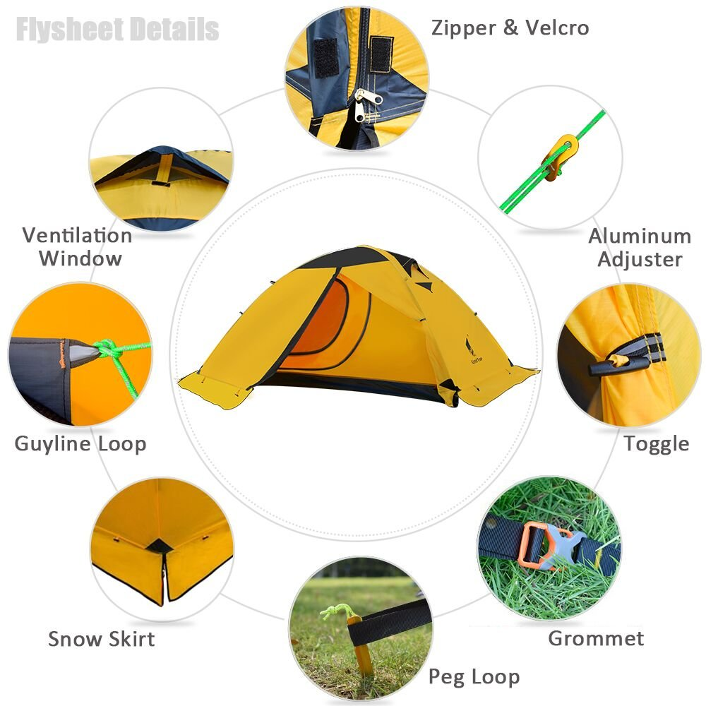 GEERTOP Backpacking Tent for 2 Person 4 Season Camping Tent Double Layer Waterproof for Outdoor Hunting, Hiking, Climbing, Travel – Easy Set Up