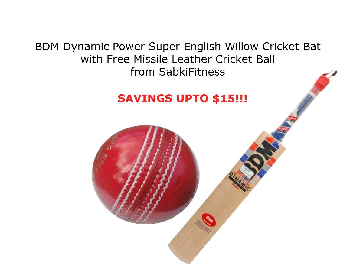 BDMダイナミック電源スーパーEnglish Willow Cricket Bat ,サイズ5 with a Free sabkifitnessクリケットレザーボール   B077VMMCML