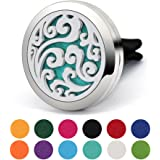 COOHAA Car Air Freshener Aromatherapy Essential Oil Diffuser Vent Clip,Stainless Steel Locket Charm with 12 Refill Felt Pads …
