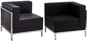 Flash Furniture HERCULES Imagination Series Black Leather 2 Piece Corner Chair Set