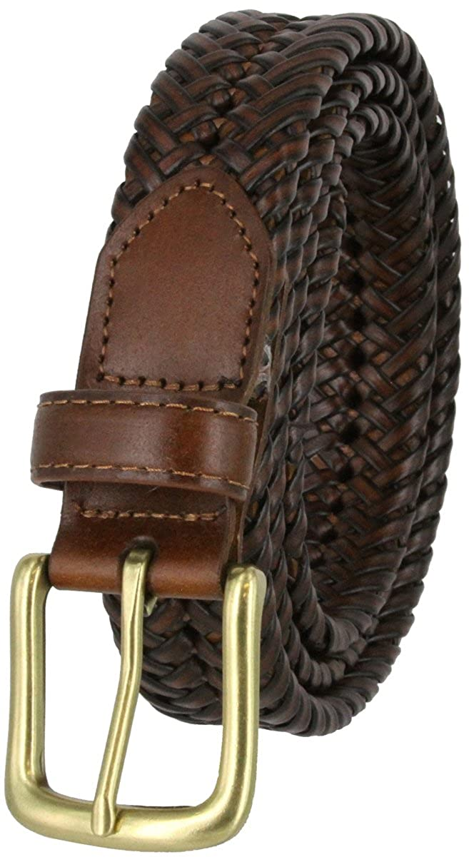 20154 Mens Braided Woven Casual Dress Leather Belt with Antiqued Silver Buckle