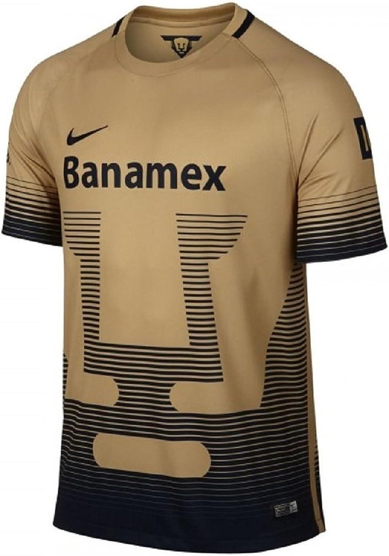 2015 – 2016 Nike UNAM Pumas Homeレプリカサッカージャージーゴールド/ネイビー(S)