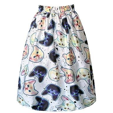 Faldas Faldas Mujer A Line Falda Midi Vintage con Flores Ropa de ...
