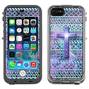 Skin Decal for LifeProof Apple iPhone 5C Case - Cross on Aztec Andes Green Turquoise Tribal Nebula