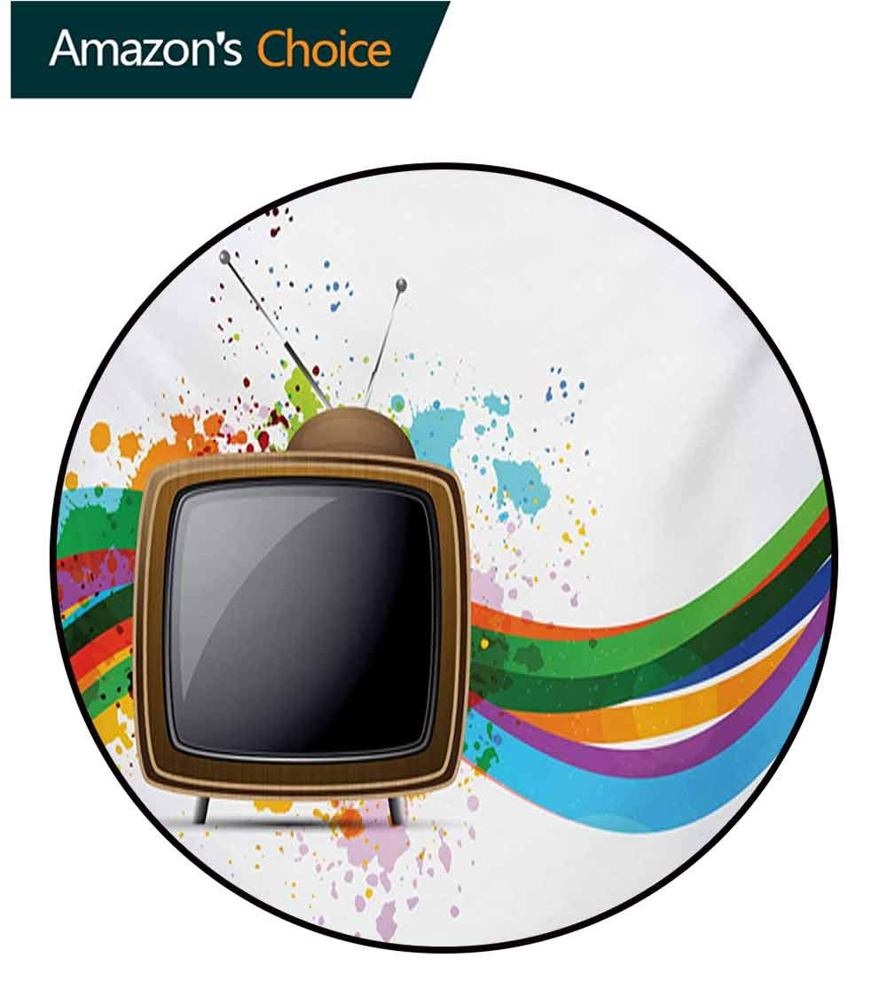 RUGSMAT Vintage Rainbow Modern Washable Round Bath Mat,Old Television with Colorful Wavy Lines Color Splashes Media Communication Non-Slip Bathroom Soft Floor Mat Home Decor,Round-59 Inch
