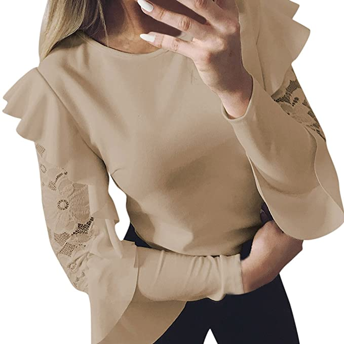 91a9db8985a2 Forh Damen Langarm Bluse Elegant Spitze Blusen Casual Rundhals Langarmshirt  Hemd Slim Einfarbig T-Shirt