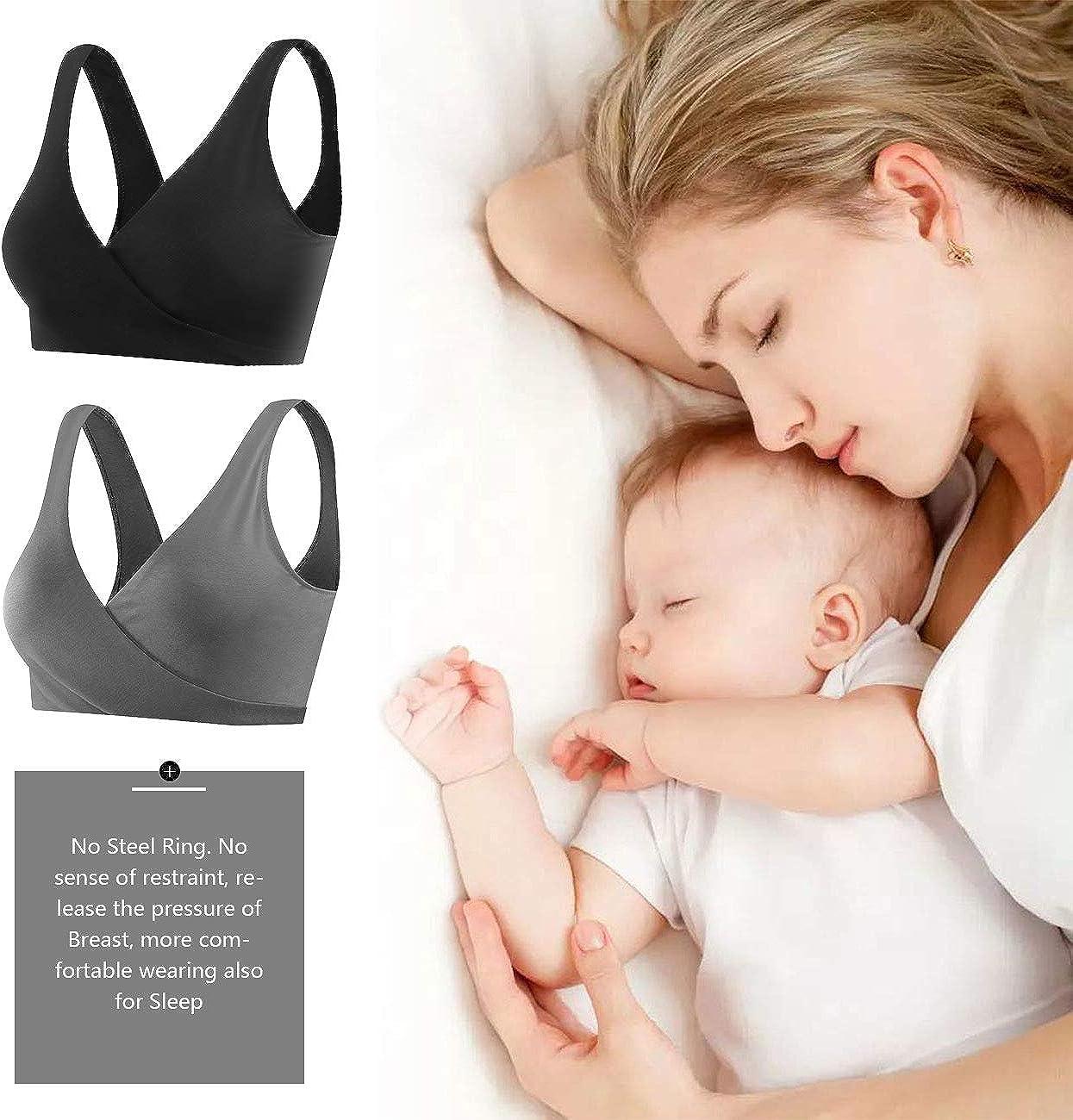 Sunzel Womens Cotton Spandex Seamless Sleep Bra for Nursing and Maternity