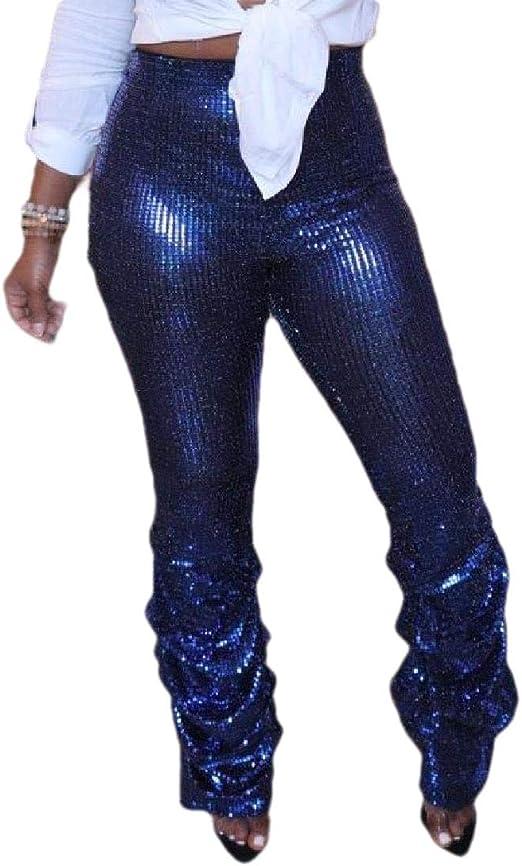 Tootess Womens New Liquid Middle Waist Nightclub Stylish Metallic Long Pants