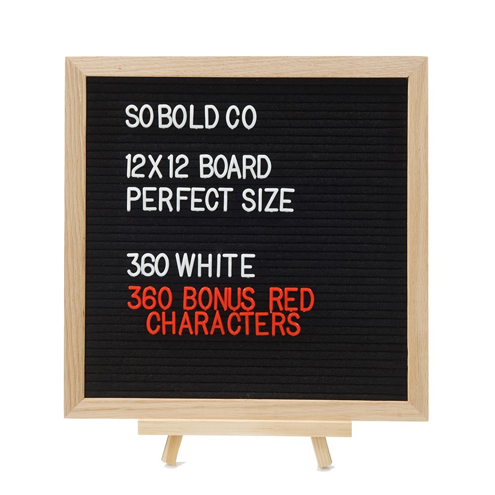 Premium 12x12 Black Felt Letter Board - w/ 720 Red n' White Characters and Cloth Bag, Oak Frame and Stand, Hanging Mount, Changeable Messages, Learning Fun, Gift, Office, Home Or School