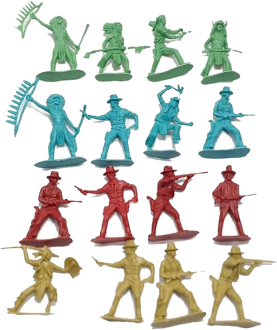 40-Piece Cowboys and Indians Plastic Action Figures Playset