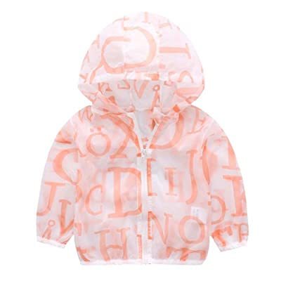 ALLAIBB Baby Child Letter Print UV Sun Protection Clothing Hooded Coat Outwear Jacket