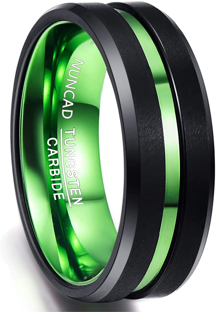 NUNCAD Men's 8mm Black and Green Tungsten Carbide Ring Matte Finish Beveled Edges Comfort Fit Size 6-16