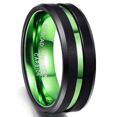 8ea80e996f680 NUNCAD Mens 8mm Black Matte Finish Tungsten Wedding Ring Green ...