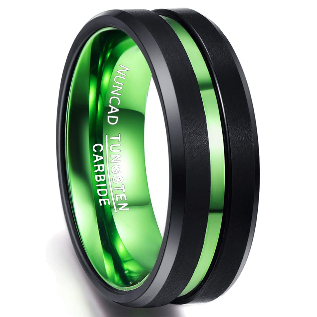 Nuncad Classic Two Tone Tungsten Rings for Men Green Groove Black Brushed Comfort Fit Size 11