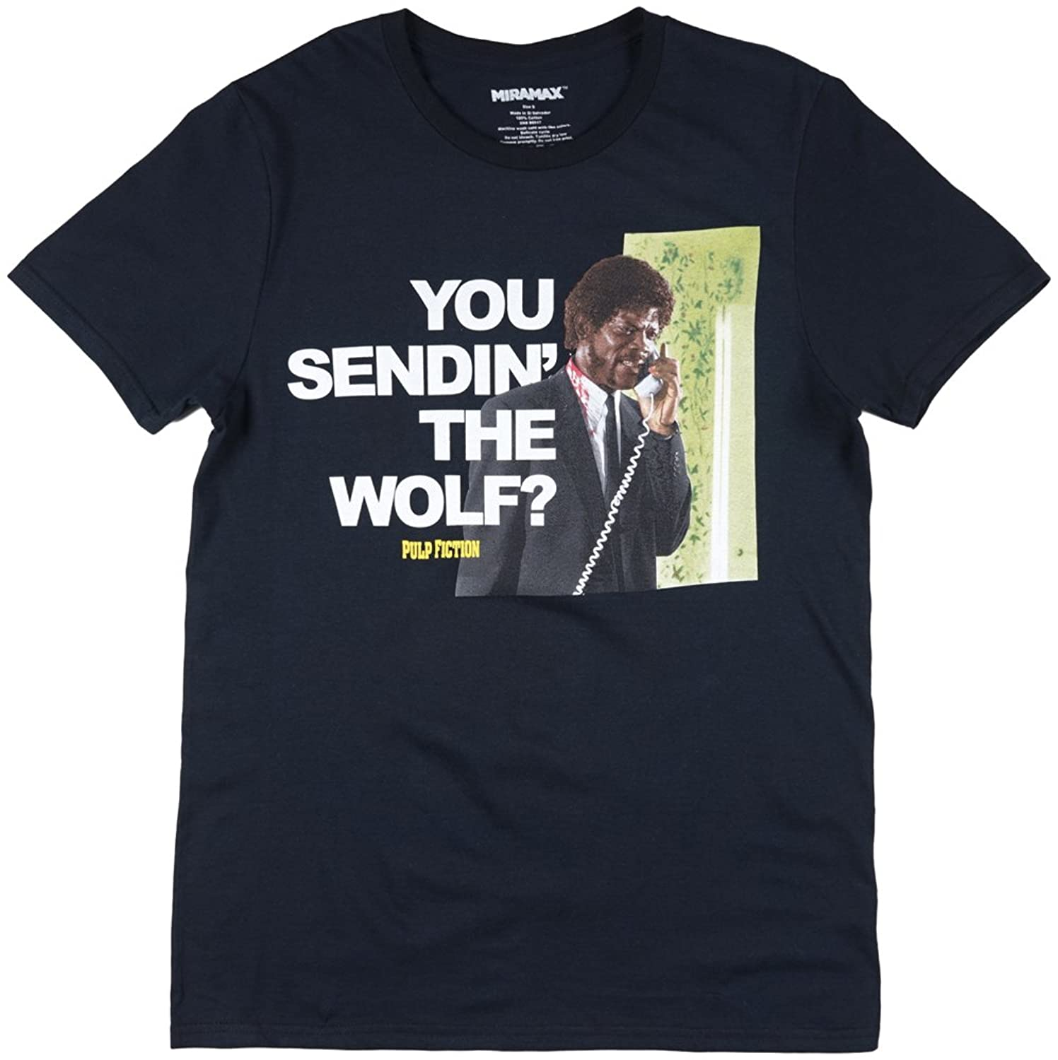 Pulp Fiction You Sendin the Wolf Mens T-Shirt in Black. S-2XL.