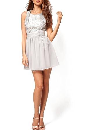 Lipsy Cutwork Detail Prom Dress in Silver/Grey (14)