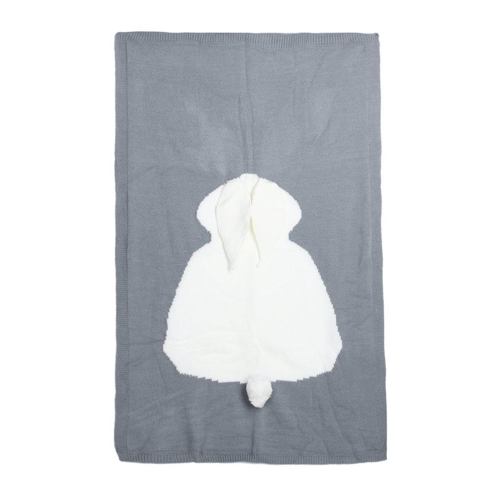 Diamondo Baby Cute Rabbit Blanket Soft Warm Wool Swaddle Kids Bath Towel (Blue)