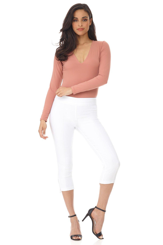 Rekucci Women's Ease in to Comfort Slimming Seamed Capri w/Zipper Detail (16,White)