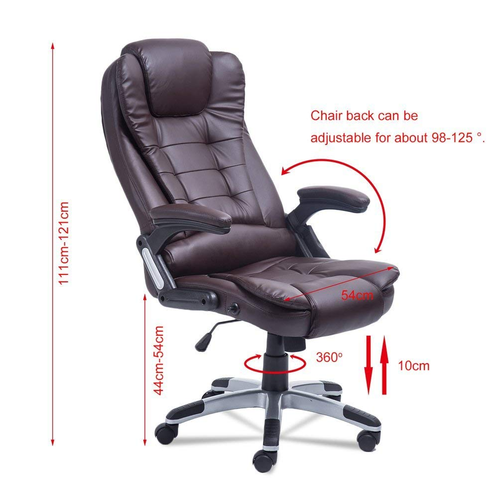 Homgrace Swivel Gaming Massage Chair Ergonomic PU Leather Executive Office Chair Vibrating 7 Point Wireless Massage Chair with Heating Function (Brown1)