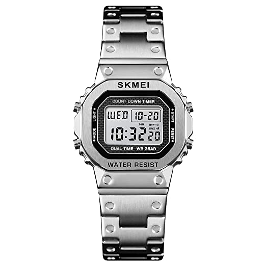 SKMEI Damen Analog Digital Elektronische Uhr Lässig Armbanduhr 2 Zeitanzeige Alarm Countdown Leuchtende Multifunktionale Dame