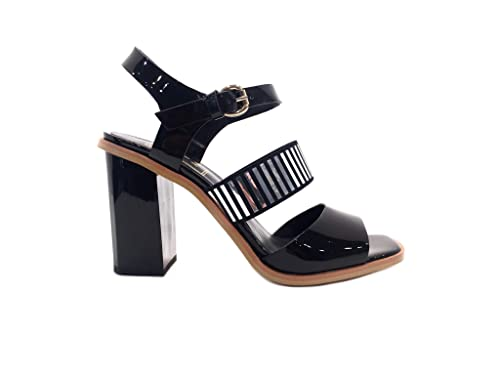 4deea95d Sandal Charol Negro Sandalias Ceremonia Mujer tacón Alto Detalle con  Cristales Elegantes Zapatos Mujer Sandalia tacón Alto Particular Novia Boda  diseño ...