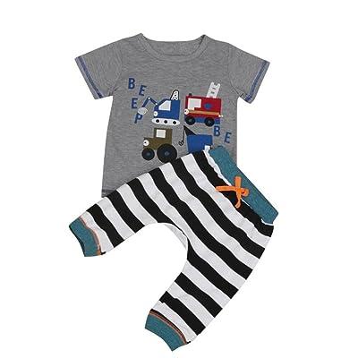 8e0c609f Baby Pants Set , METFIT Kids Toddler Boys Cartoon T-Shirt + Striped Outfits