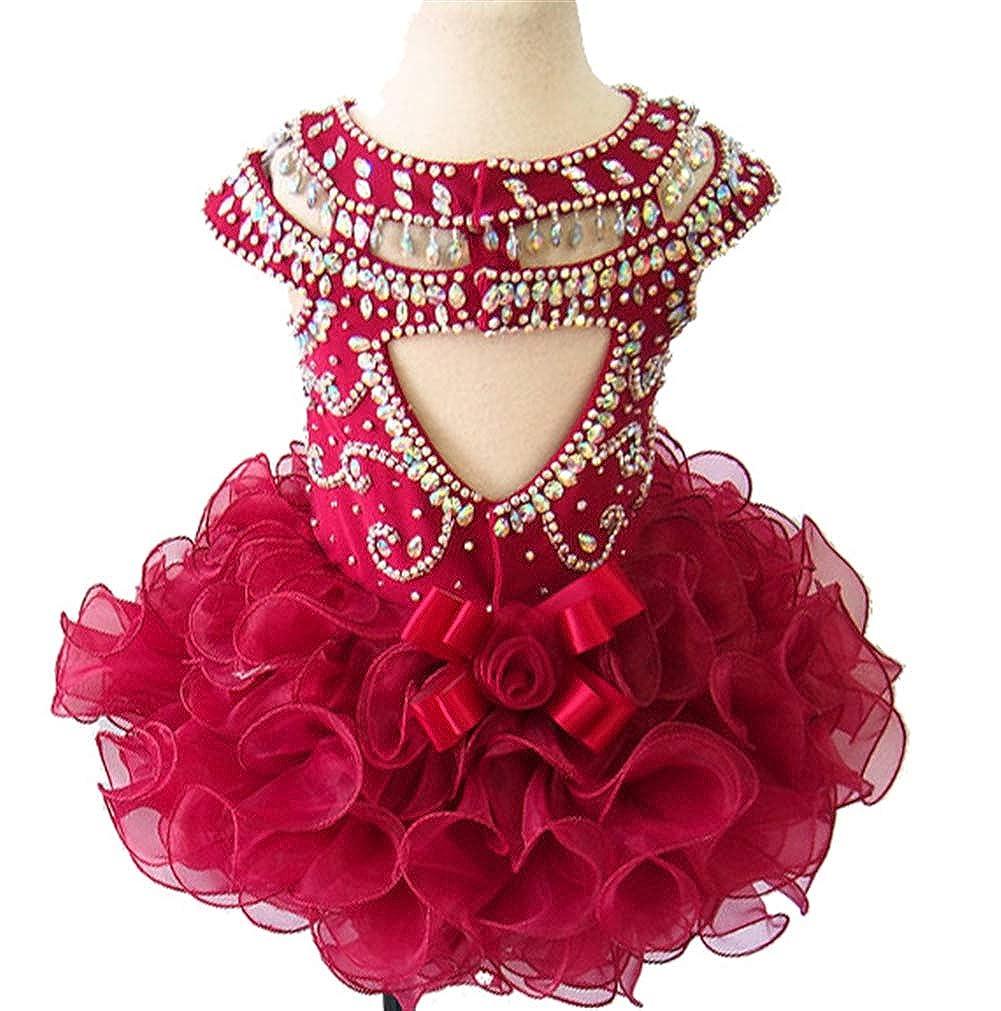 Jenniferwu Infant Toddler Baby Newborn Little Girls Pageant Party Birthday Dress G225RW Redwine Size 6T