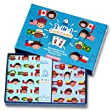 Children's Card Game Set - Memory Matching Game, Educational Game, Playing Cards 3 in 1 Card Game Set (America Series)