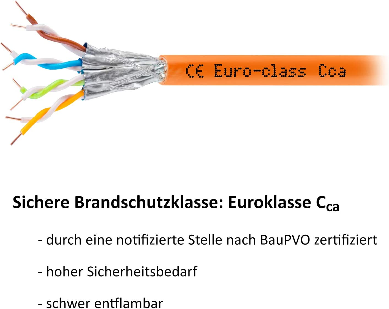 HB Digital Basic RoHS-Compliant senza alogeni 7 Cat7 AWG 23//1 50 m Colore: arancione. Cavo di rete LAN di categoria 7 professionale S//FTP PIMF LSZH cat